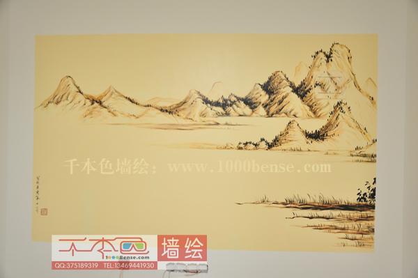 墙体彩绘山水素材