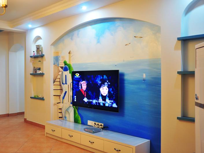 海景墙绘电视背景墙-长沙墙绘公司-子非鱼手绘墙的设计师家园-沙滩