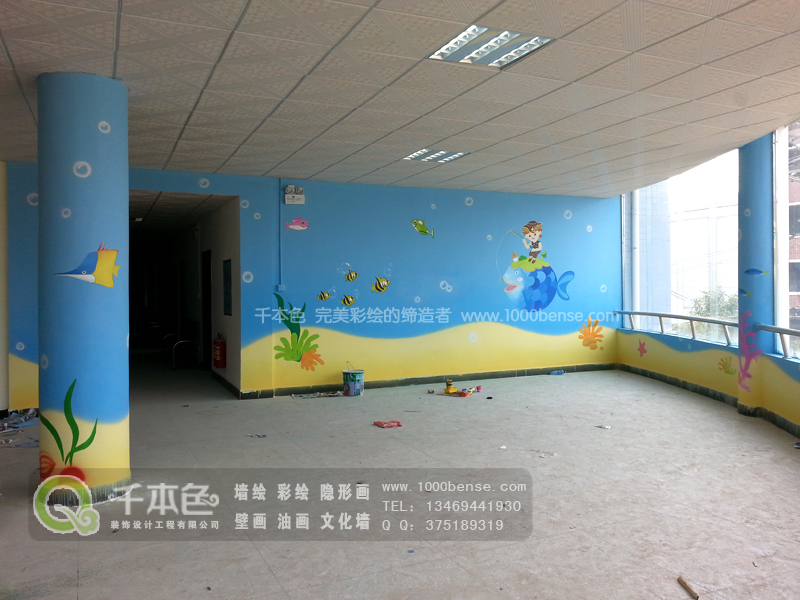 大厅做了海底世界的主题,色彩明快愉悦,特别还穿插了当下最流行的
